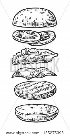 Ingredients classic cheeseburger. Isolated painted components burger on white background. Vector vintage engraving Illustration for poster menu web banner info graphic