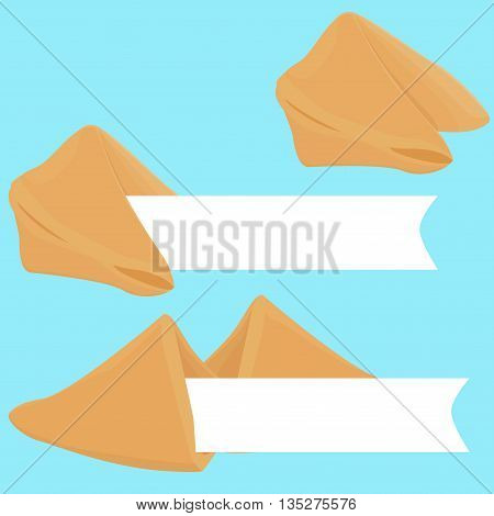 Vector realistic cracked and whole fortune cookie with place on paper for text with prediction or wishes