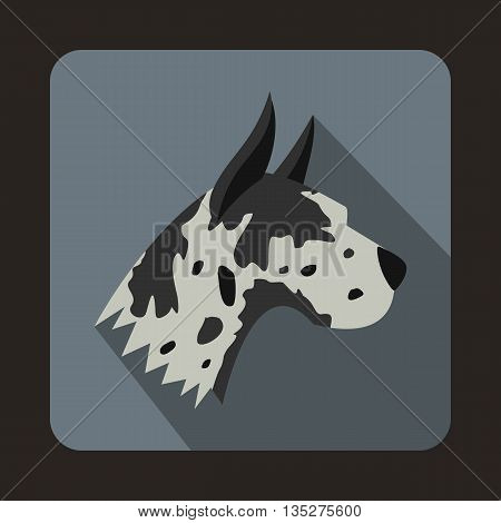 Great dane dog icon in flat style with long shadow. Animals symbol