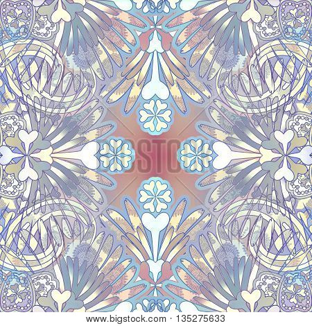 pale oriental floral patterned background symmetric, pastel color