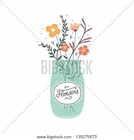 Cute bouquet of flowers in a glass jar. Vector illustration isolated on white background.
