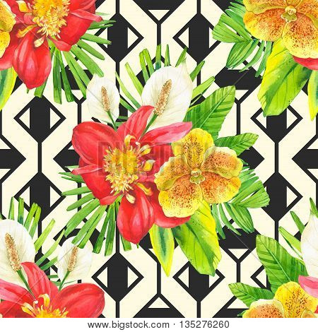 Bouquet with tropical plants on black and white background with geometric pattern. Composition with lily, dahlia, orchid and begonia leaves.