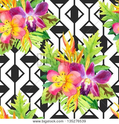 Beautiful bouquet on black and white background with geometric pattern. Composition with strelitzia, orchid, palm and begonia leaves.