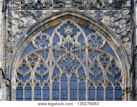 Detail of window decoration of the Gothic St. Vitus Cathedral in Prague Czech Republic. Patterns on the arched window.