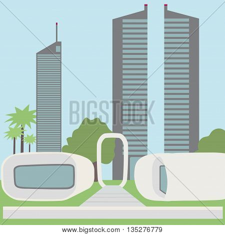 Functional 3D printed office building. futuristic landscape, view of the modern city. Vector illustration.
