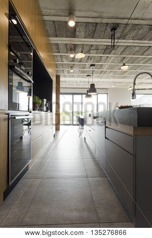 Open Kitchen In An Industrial Style