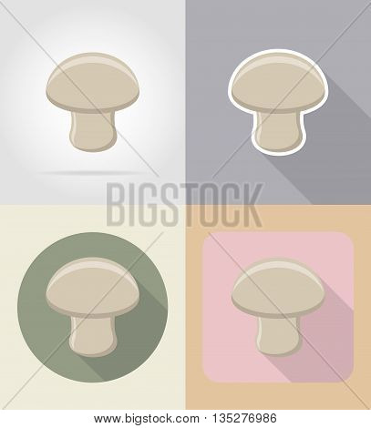 champignon mushroom food and objects flat icons vector illustration isolated on background