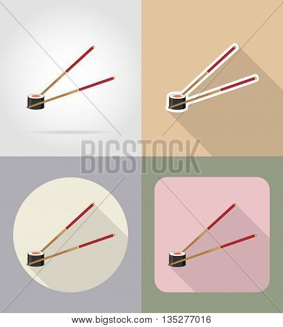 sushi with chopsticks food and objects flat icons vector illustration isolated on background