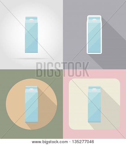 milk packaging drink and objects flat icons vector illustration isolated on background