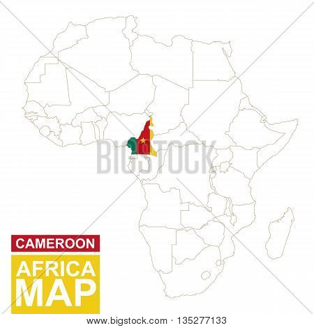 Africa Contoured Map With Highlighted Cameroon.