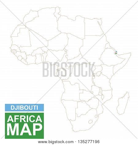 Africa Contoured Map With Highlighted Djibouti.