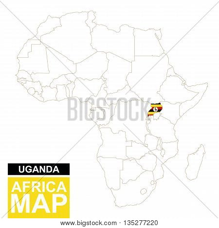 Africa Contoured Map With Highlighted Uganda.