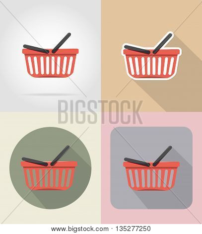 basket of products in supermarket food and objects flat icons vector illustration isolated on background