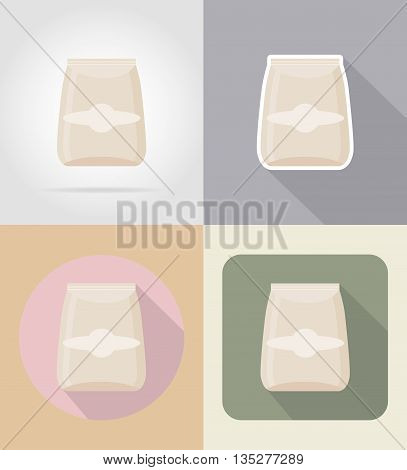 packaging for products food and objects flat icons vector illustration isolated on background