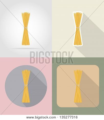 pasta spaghetti food and objects flat icons vector illustration isolated on background