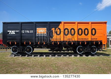 NIZHNIY TAGIL, RUSSIA - JUNE 1, 2016: Photo of The millionth wagon model 12-196.