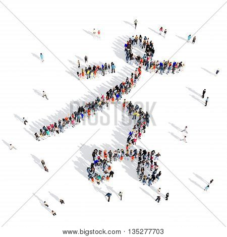 Large and creative group of people gathered together in the shape of people, skateboarding, competition, sport. 3D illustration, isolated against a white background.