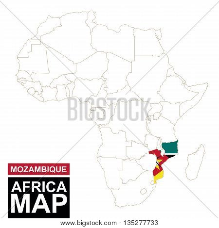 Africa Contoured Map With Highlighted Mozambique.