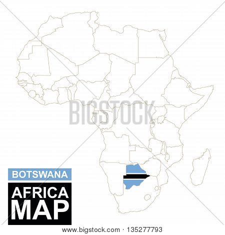 Africa Contoured Map With Highlighted Botswana.