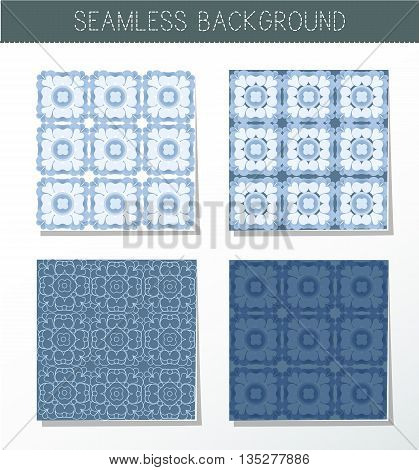 Four beautiful blue seamless ornament. Mandala. Vintage decorative elements. Islam Indian. Ceramic tile. Set of beautiful ethnic oriental ornaments. Abstract background. Kaleidoscope.
