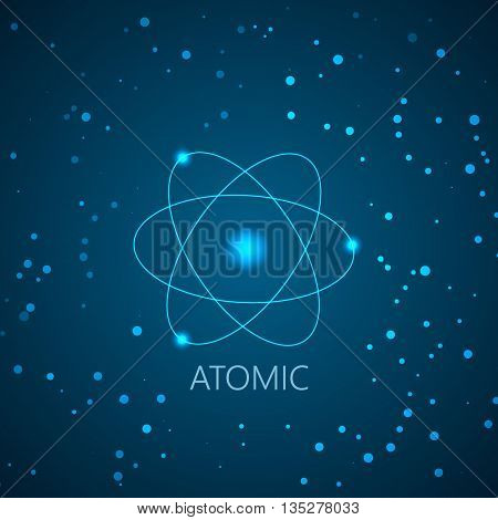 Background with blue shining atom scheme and light particles. Vector illustration. Abstract technology background for computer graphic.