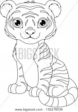 Tiger cub sits on white background, coloring page