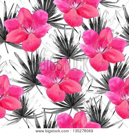 Beautiful pattern with tropical black leaves and pink flowers on white background. Summer pattern with palm leaves.