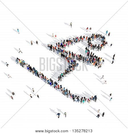 Large and creative group of people gathered together in human shape, slalom, sport. 3D illustration, isolated against a white background.