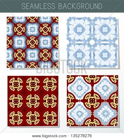 Four beautiful seamless ornament. Mandala. Vintage decorative elements. Islam Indian. Ceramic tile. Set of beautiful ethnic oriental ornaments. Abstract background. Kaleidoscope.