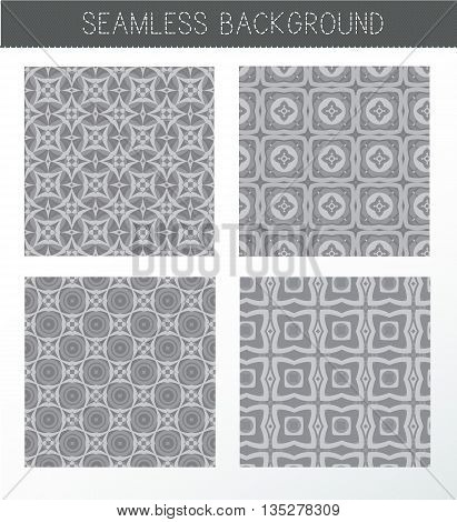 Seamless grey backgrounds collection. Set of tile and lattice patterns. Vintage decorative elements. Islam Indian. Ceramic tile. Set of beautiful ethnic oriental ornaments. Abstract background. Kaleidoscope