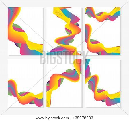 Set of six abstract cards with liquid multi-colored lines. Applicable for covers placards posters flyers and banner designs. Vector illustration.