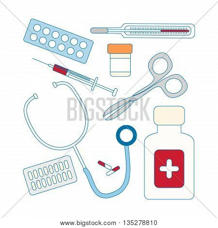 Set of medical icon - thermometer syringe pills and stethoscope. Vector illustration.