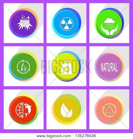 globe and shamoo, recycling bin, stub, leaf, bag, radiation symbol, recycle symbol, natural, weather in hands. Ecology set. Internet template. Vector icons.
