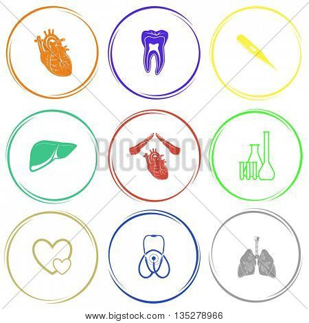 heart, tooth, thermometer, liver, heart protect, chemical test tubes, careful heart, stethoscope, lungs. Medical set. Internet button. Vector icons.