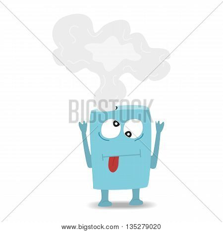 Cartoon cute monster on white background. Vector illustration.