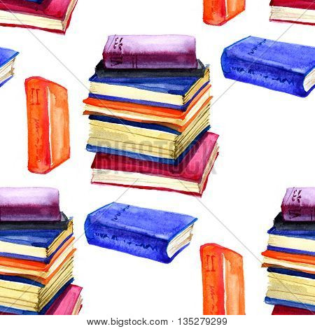 Seamless watercolor pattern with book on white
