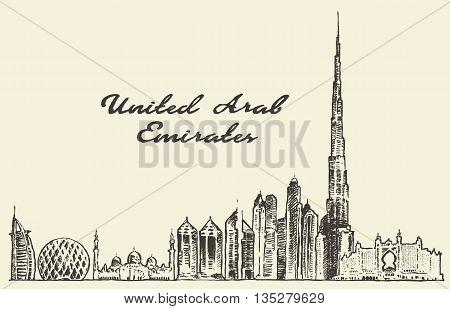 United Arab Emirates skyline vintage vector engraved illustration hand drawn sketch