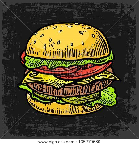 Burger include cutlet tomato cucumber and salad isolated on black background. Vector vintage engraving illustration for poster menu web banner info graphic