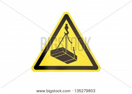traffic construction yellow triangular sign warning about falling weigh from height on construction site isolated on white background