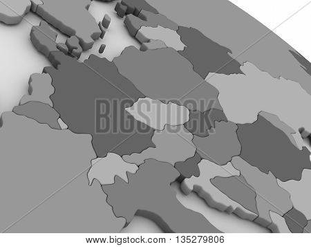 Central Europe On Grey 3D Map