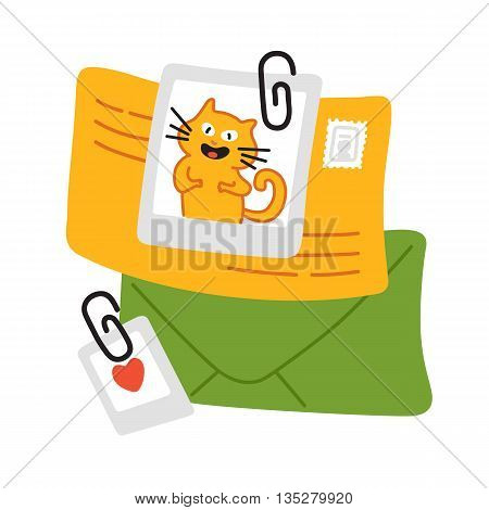 Concept of regularly distributed news publication via e-mail with some topics of interest to its subscribers. Vector flat illustration