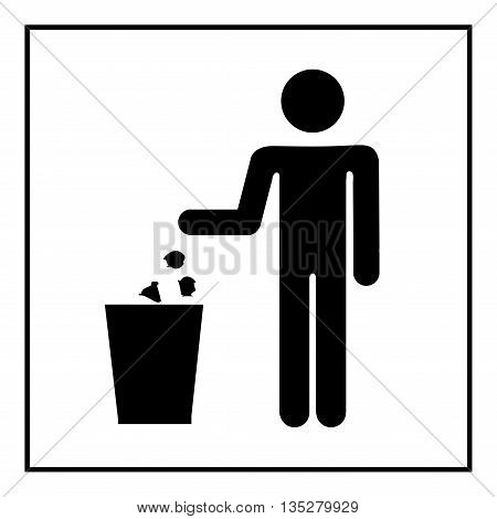 Keep clean icon. Do not litter sign. Silhouette person on white background. No throwing garbage mark in white square. Take care of clean nature symbol. Flat vector image. Vector illustration.