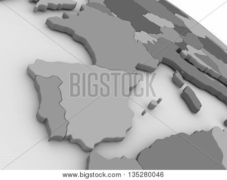 Spain And Portugal On Grey 3D Map