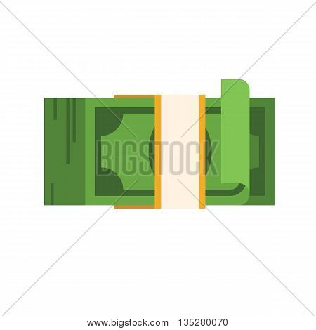 Stack of dollars. Big pile of cash. Vector flat illustration isolated on white background.