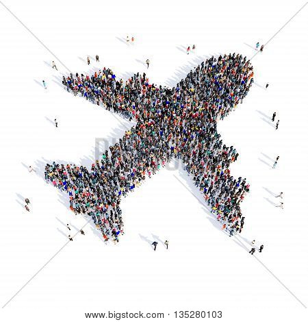 Large and creative group of people gathered together in the shape of a plane of the image. 3D illustration, isolated, white background.