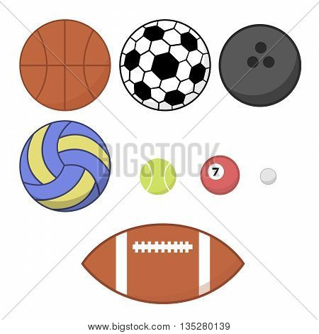 A lot of sports balls on a white background