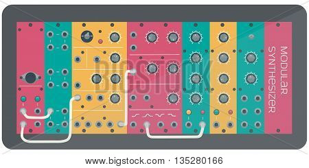The colored modular synthesizer-analog synthesizer. Vector illustration.