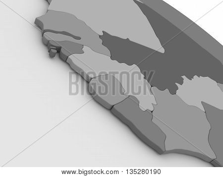 Liberia, Sierra Leone And Guinea On Grey 3D Map
