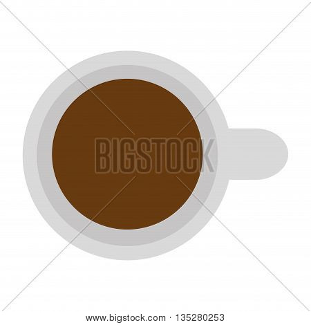 white cup of coffee with handle topview vector illustration