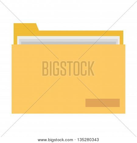 yellow folder with document inside vector illustration